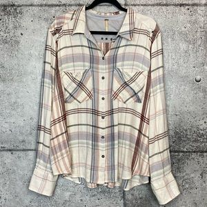 Free People // Plaid Button Down Shirt